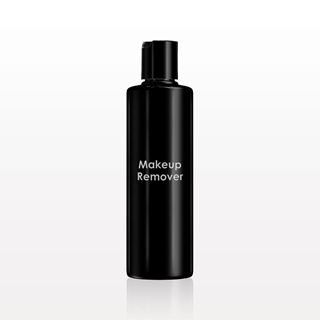 Printed Cylinder Bottle, Black with Smooth Disc Top Cap for Makeup Remover - 30064
