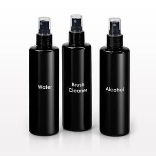 250 ml Printed Cylinder Bottles, Black with Sprayer - 30061, 30062, 30063