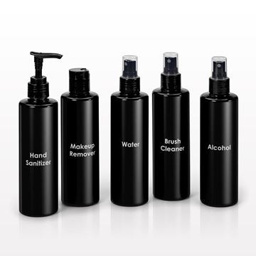 250 ml Printed Cylinder Bottles, Black with Sprayer, Disc Top Cap or Lotion Pump - 30061, 30062, 30063, 30064, 30065