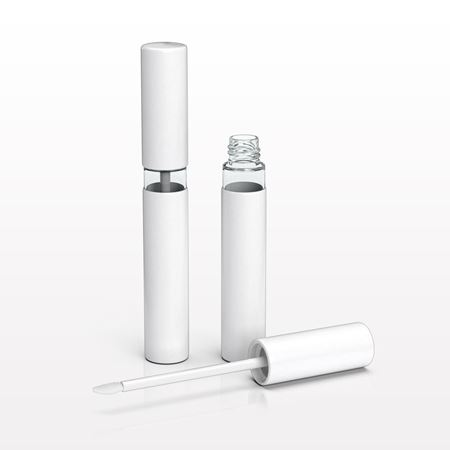 7 ml White Paperboard Coated ABS Vial and Cap with Flocked Doe Foot Lip Gloss Applicator and Wiper - 30028, 30029