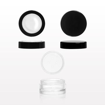 3 gram Sampling Jar with Raised Bottom, Sifter with Sticker and Flat Threaded Caps - 502206 - 502207- 502208 - 502209