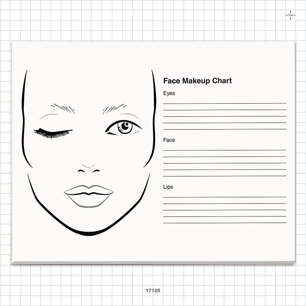 50 Page Face Makeup Chart Pad 17105