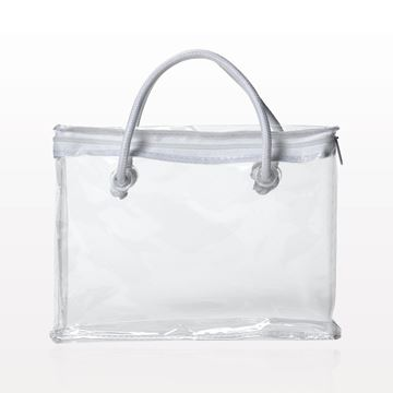 Zipper Bag with White Piping and Rope Handle, Clear - 23681
