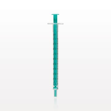 Two-Piece Syringe, Male Luer Slip Tip, Zero Dead Space, Green Plunger - C4022