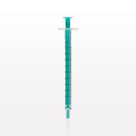 Two-Piece Syringe, Male Luer Slip Tip, Zero Dead Space, Green Plunger - C4022