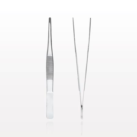 Single Use Straight Dressing Forceps, Serrated, Mirror Finish - 16080