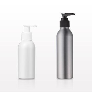 Aluminum Bottles with Lotion Pump, White; 118 ml, 4 oz., Black; 180 ml, 6 oz. - 30068 - 29818