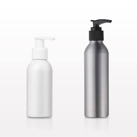 Aluminum Bottles with Lotion Pump, White; 118 ml, 4 oz., Black; 180 ml, 6 oz. - 30068 - 29818