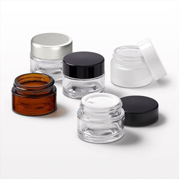 Thick Walled Glass Jar, Amber, Clear, Frosted, Threaded Cap, Black, Matte Black, White, Matte Silver, Disc Liner - 74271 - 74272 - 74273 - 74274 - 74275 - 74276 - 74277 - 74285
