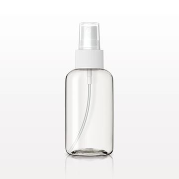 Boston Round Bottle, Clear with Fine Mist Spray Pump, White with Clear Overcap - 50108 - 50109