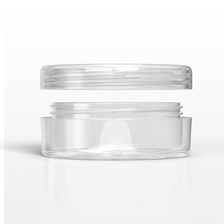 30089 - Single Wall Jar, Clear; 30088 - Flat Cap, Clear for 30089 - 30088 - 30089