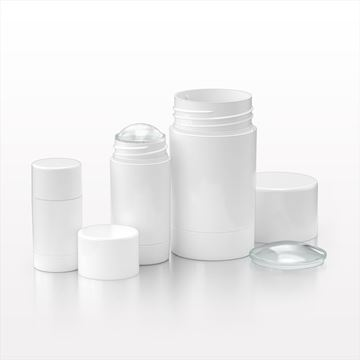 Round Twist-Up Deodorant Containers and Caps, White - 30097 - 30098 - 30099