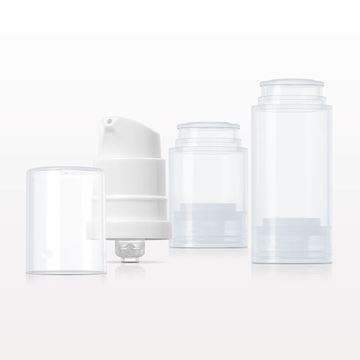 Airless Lotion Pump, White with Overcap, Natural and Airless Bottles, Natural - 10123 - 10124 - 10125