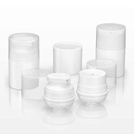 PCR Airless Jar, White & PCR Airless Lotion Pumps, White with Overcap, Natural - 23690 - 23691 - 23692