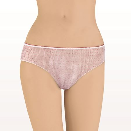 Ladies Disposable Panties, White with Pink Polka Dots - 506103