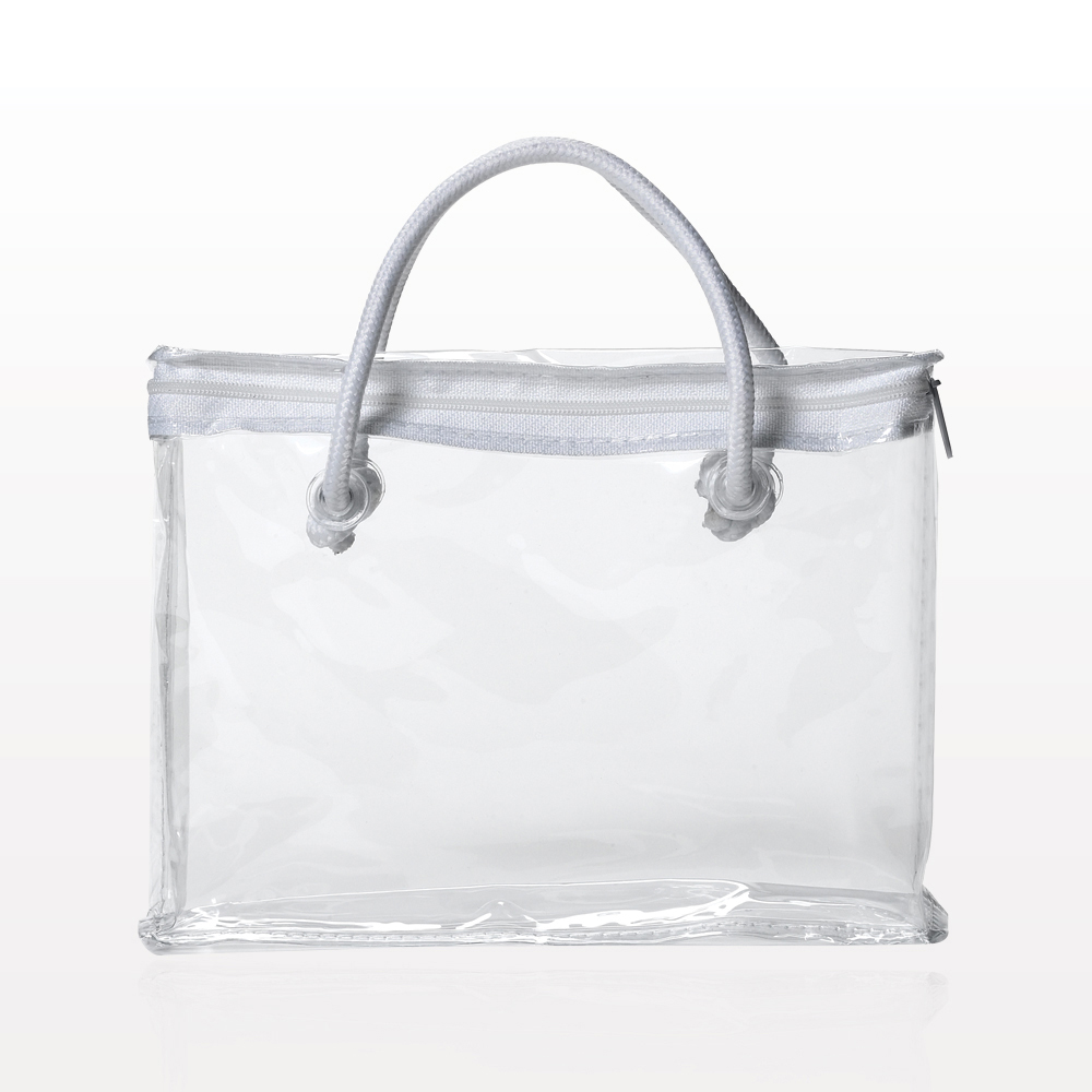 Zipper Bag with White Piping and Rope Handle, Clear
