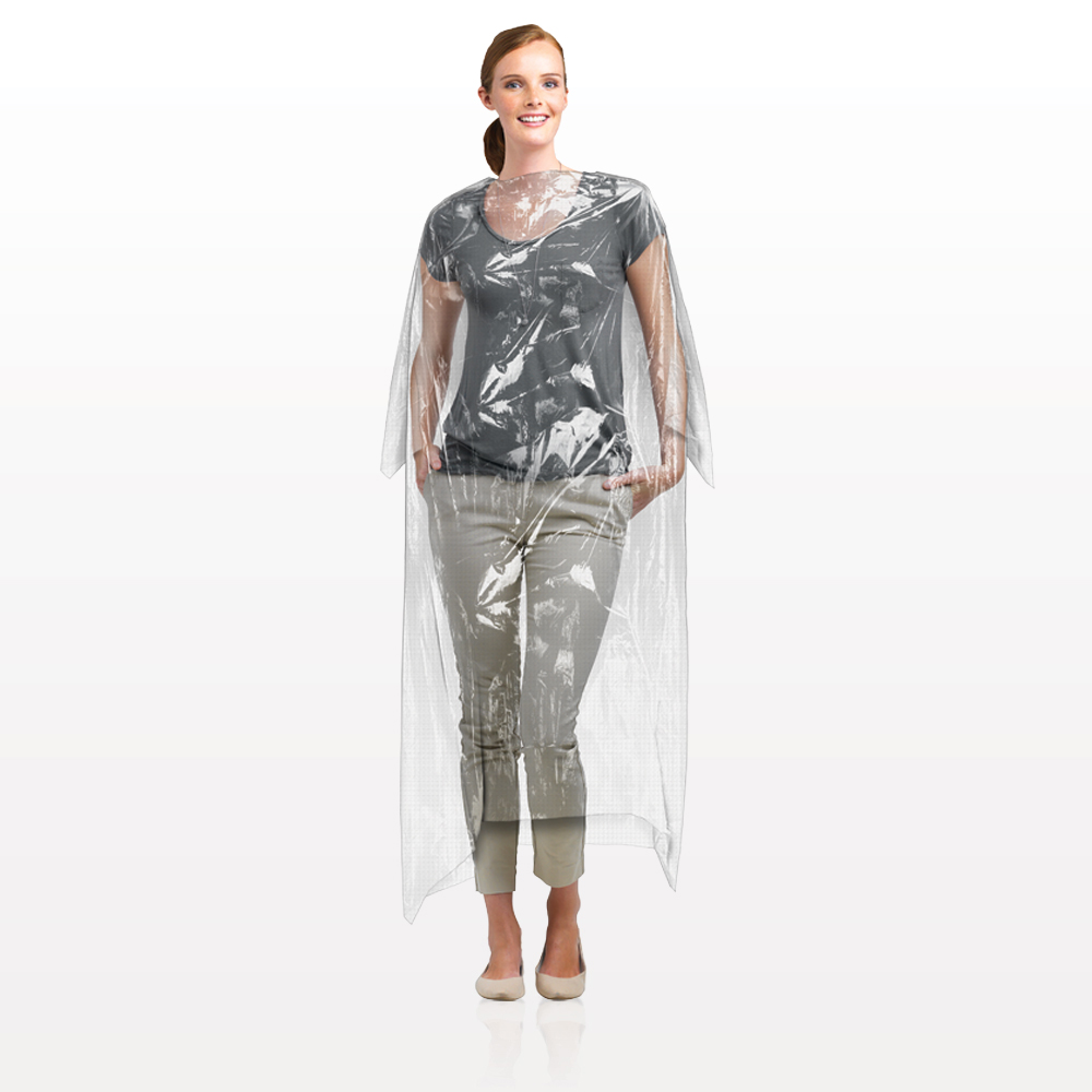 Disposable Full Length Salon Cape with Tie Closure, Clear