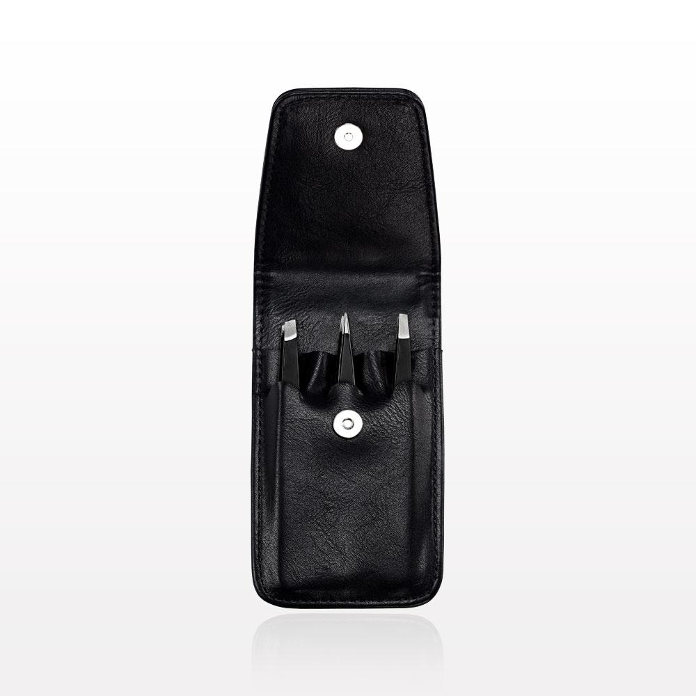 3-Piece Tweezer Set, Black