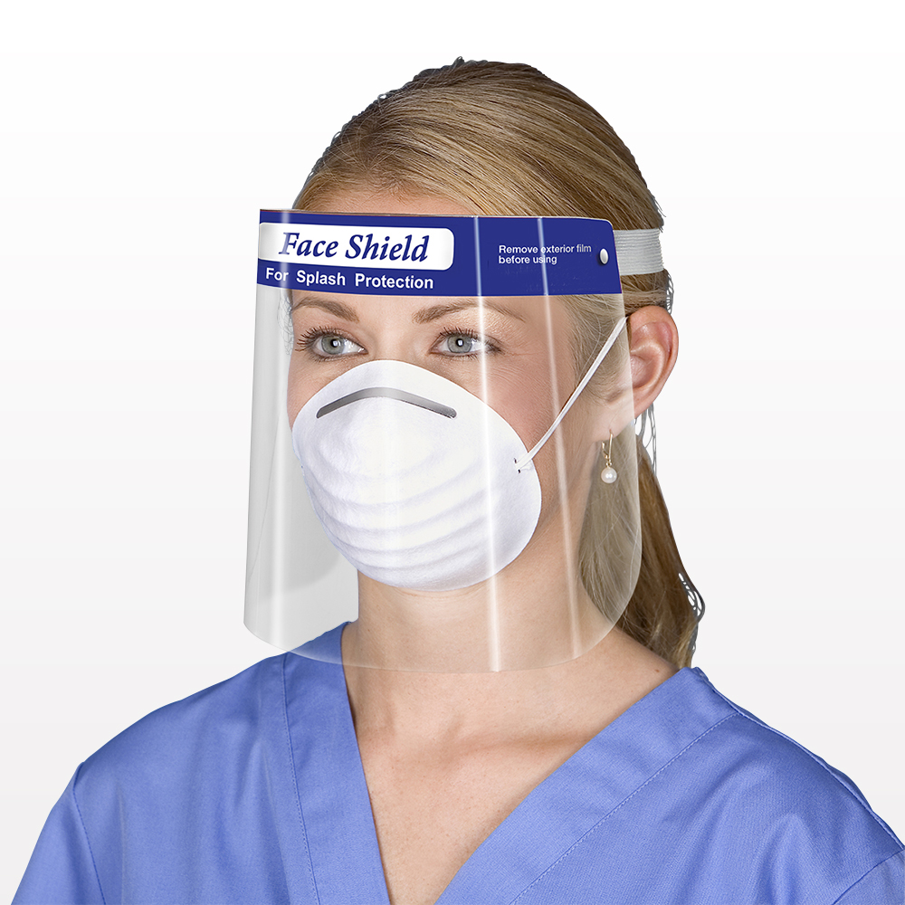 Medical-Grade Protective Face Shield, Anti-Fog, Blue