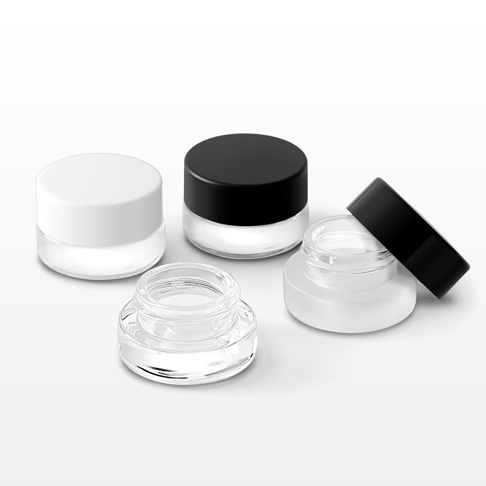 3 gram Thick Walled Glass Jar and Threaded Caps with Liner