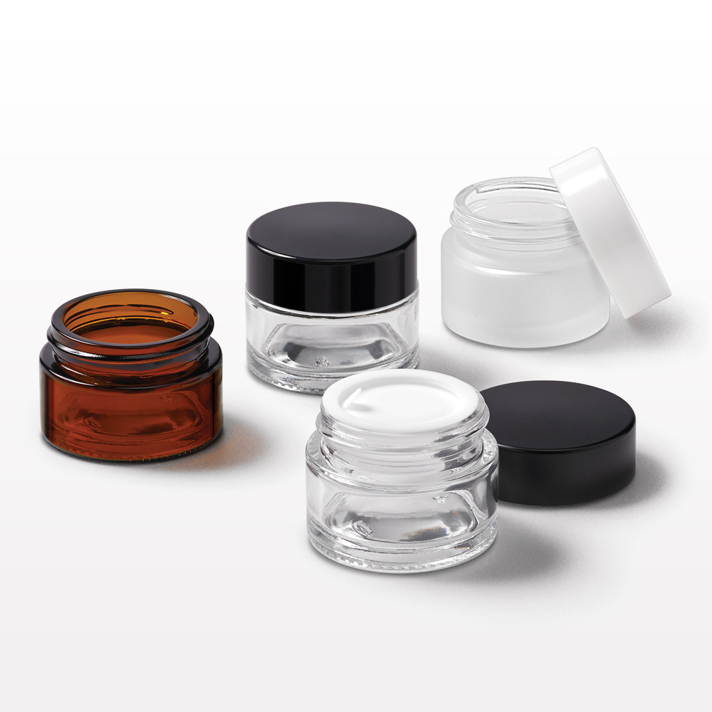 15 gram Thick Walled Glass Jar with Lined Threaded Cap and Disc Liner