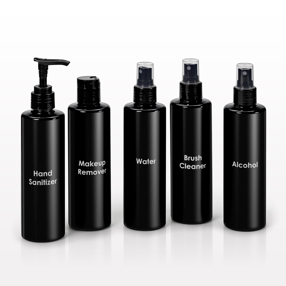 250 ml Printed Cylinder Bottles, Black with Sprayer, Disc Top Cap or Lotion Pump