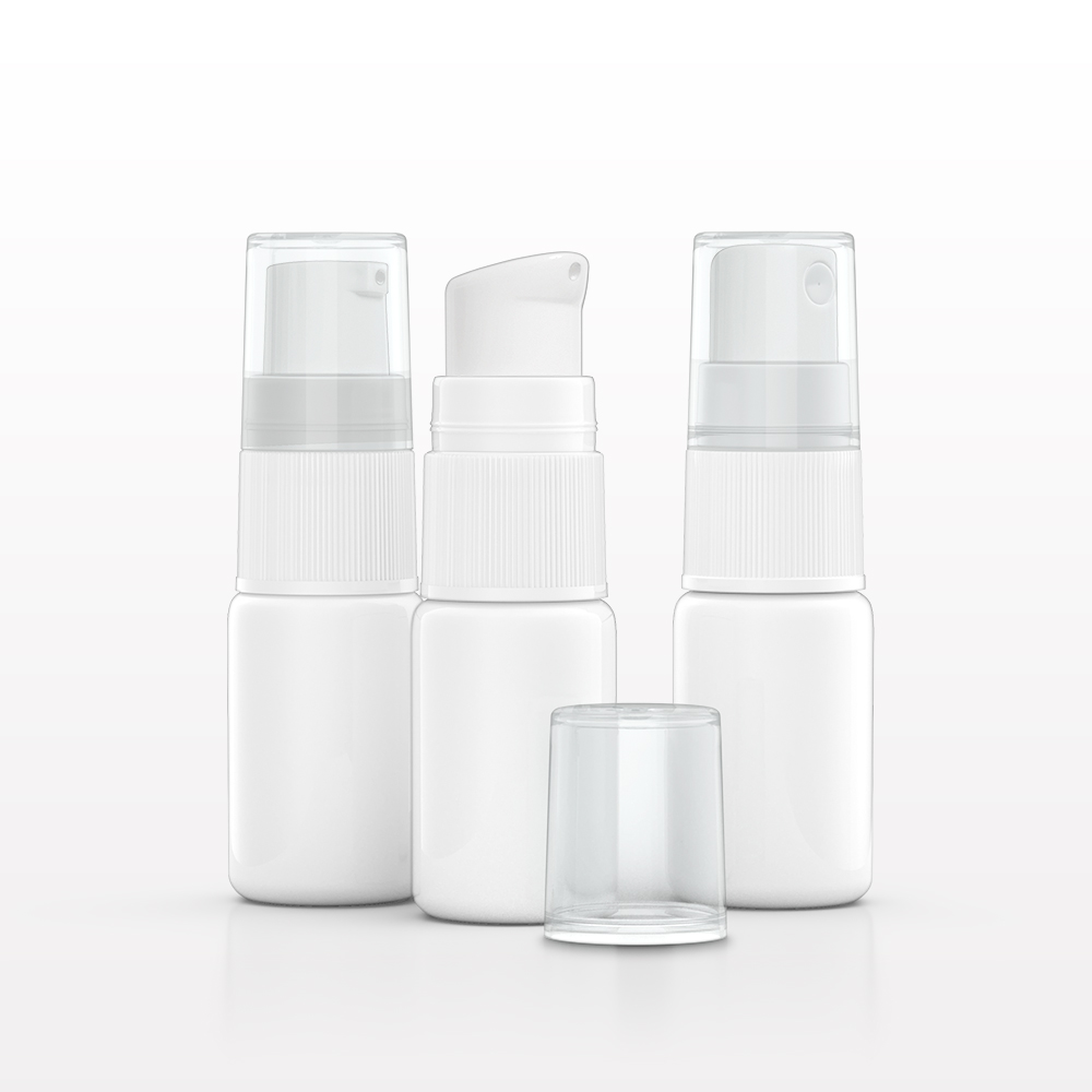 10 ml HDPE Bottle, White with Interchangeable Caps