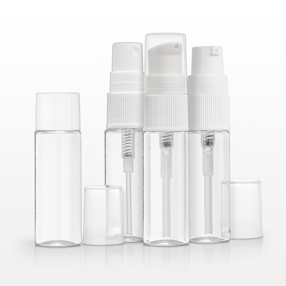 15 ml PET Bottle, Clear with Interchangeable Caps