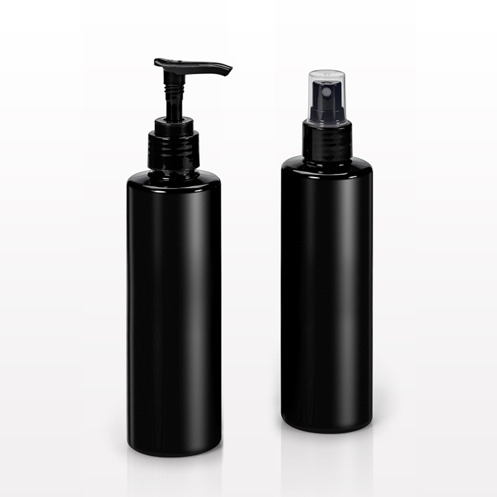 250 ml Cylinder Bottles, Black with Sprayer or Lotion Pump