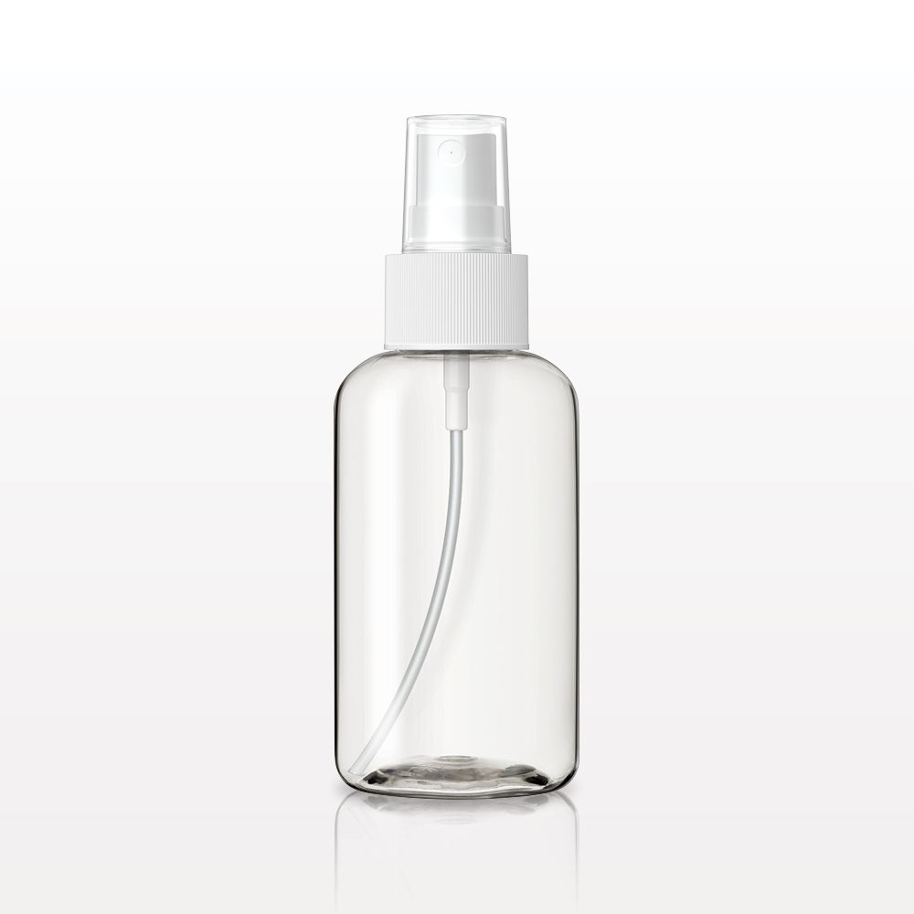 Boston Round Bottle, Clear with Fine Mist Spray Pump, White and Overcap