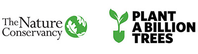 The Nature Conservancy logo and Plant A Billion Trees logo